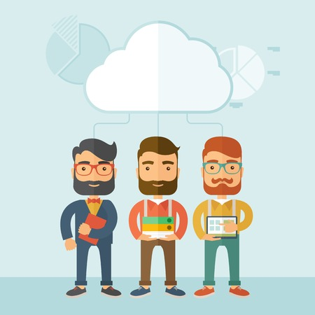 talks: Three young managers working together with different ideas and task build their own business. Teamwork concept.. A contemporary style with pastel palette, soft blue tinted background with desaturated clouds. Vector flat design illustration. Square layout. Illustration