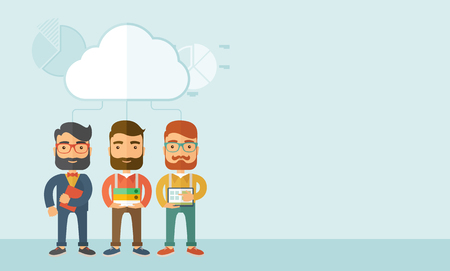 teamwork cartoon: Three young managers working together with different ideas and task build their own business. Teamwork concept.. A contemporary style with pastel palette, soft blue tinted background with desaturated clouds. Vector flat design illustration. Horizontal lay
