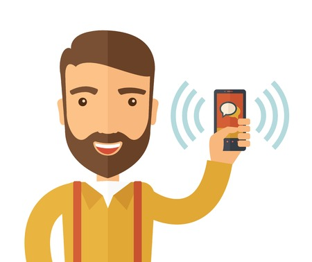 using smartphone: A man standing while holding smartphone with bubble, call and sends message via sms chat with internet wifi. Communication concept. A contemporary style. Vector flat design illustration with isolated white background. Square layout.