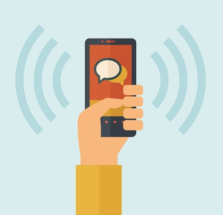 cellphone in hand: Hand holding smartphone with bubble, call and sends message via sms chat with internet wifi. Communication concept. A contemporary style with pastel palette, soft blue tinted background. Vector flat design illustration. Square layout.