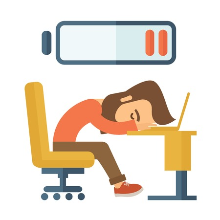 weary: Young tired employee sitting, lying on his table with low power sign on the top of his head need rest, vacation, holiday. Vector flat design illustration isolated on white background. Vertical layout with text space on top part. Illustration
