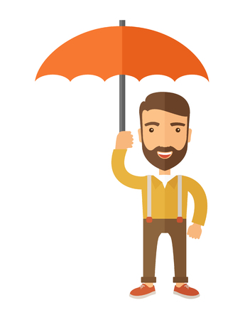looking away: A successful and happy businessman standing with umbrella for his protection. A contemporary style. Vector flat design illustration with isolated white background. Vertical layout with text space in left side. Illustration