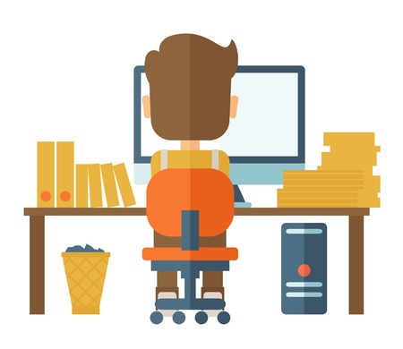 participate: A Caucasian hardworking man facing his computer doing his paper works and seraching an idea from his computer for his report. A contemporary style. Vector flat design illustration with isolated white background. Square layout.