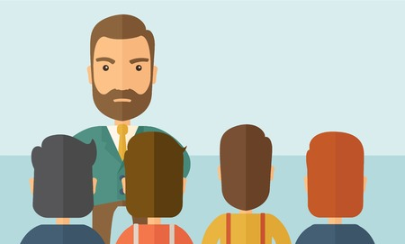 A very angry boss standing having a meeting to his employees facing him inside the office. Deadline and work Relationships business concept. A Contemporary style with pastel palette, soft blue tinted background. Vector flat design illustration. Horizontal Illustration