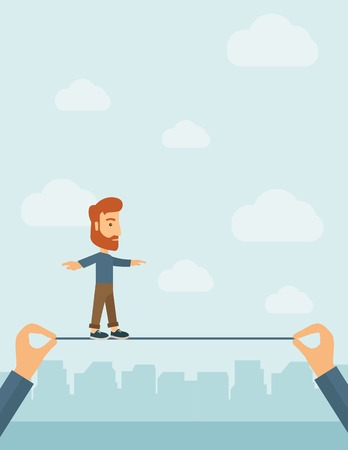 achieve goal: A Caucasian businessman walking on wire stretched by two hands balancing himself to achieve his goal in marketing. Determination and great achievement concept. A Contemporary style with pastel palette, soft blue tinted background with desaturated clouds.