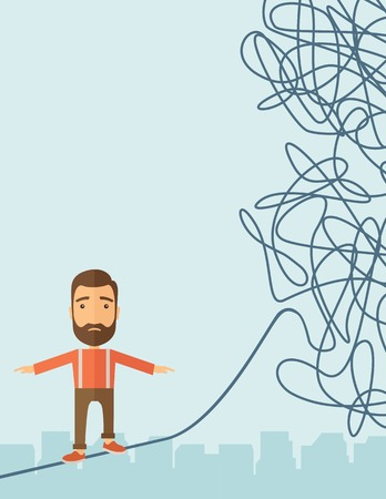 dangerous man: A Businessman walking on a long rope at risk but still very far to reach the goal. Determination concept. A Contemporary style with pastel palette, soft blue tinted background. Vector flat design illustration. Vertical layout with text space in left side.