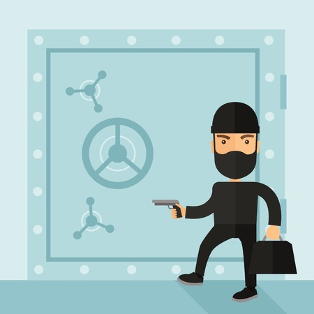 A man wearing black with mask to disguise doing crime hacking bank safe. Criminal, illegal concept. A Contemporary style with pastel palette, soft blue tinted background. Vector flat design illustration. Square layout.