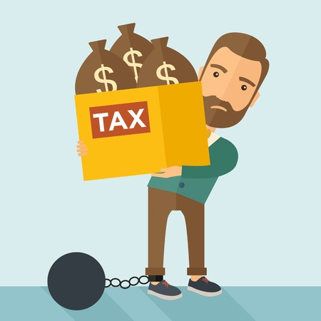 tax: A Caucasian businessman locked in a debt ball in chain for commiting crime in tax ivasion. Debt concept. A Contemporary style with pastel palette, soft blue tinted background. Vector flat design illustration. Square layout. Illustration