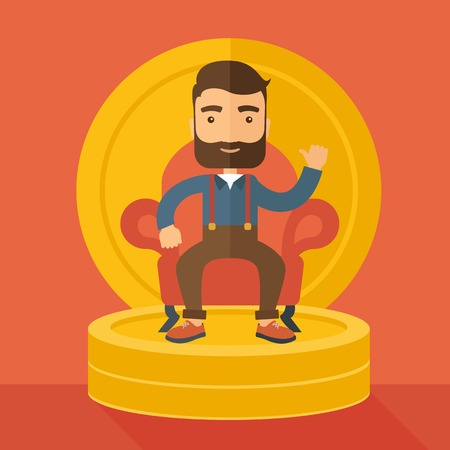 pastel like: A successful businessman with beard smiling while sitting like a king on a heap of money. Achievement concept. A Contemporary style with pastel palette, orange tinted background. Vector flat design illustration. Square layout.