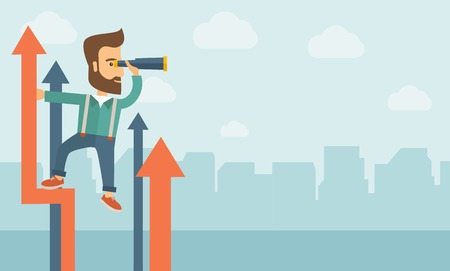 A businessman with beard stand on top of graph arrow using his telescope looking how high he is. Business success, self development concept. A Contemporary style with pastel palette, soft blue tinted background with desaturated clouds. Vector flat design