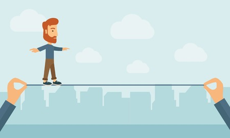 determination: A Caucasian businessman walking on wire stretched by two hands balancing himself to achieve his goal in marketing. Determination and great achievement concept. A Contemporary style with pastel palette, soft blue tinted background with desaturated clouds.