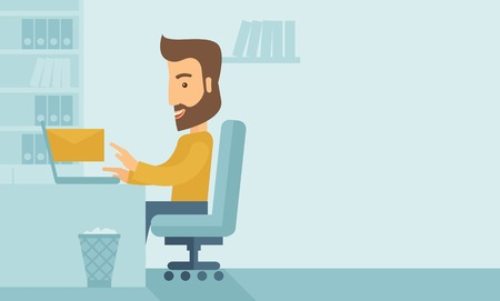 chat room: Young happy Caucasian man sitting infront of a table with computer laptop and thinking what to write in e-mail inside his office. A Contemporary style with pastel palette, soft blue tinted background. Vector flat design illustration. Horizontal layout wit Illustration