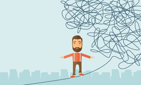 dangerous man: A Businessman walking on a long rope at risk but still very far to reach the goal. Determination concept. A Contemporary style with pastel palette, soft blue tinted background. Vector flat design illustration. Horizontal layout with text space in left sid