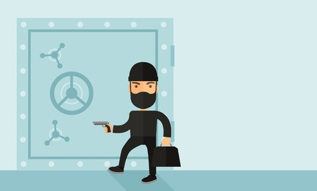 disguise: A man wearing black with mask to disguise doing crime hacking bank safe. Criminal, illegal concept. A Contemporary style with pastel palette, soft blue tinted background. Vector flat design illustration. Horizontal layout with text space in right side.