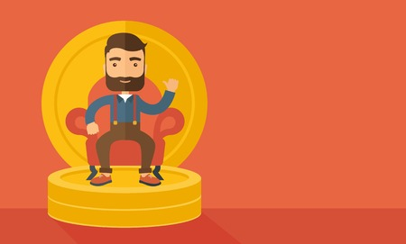 pastel like: A successful businessman with beard smiling while sitting like a king on a heap of money. Achievement concept. A Contemporary style with pastel palette, orange tinted background. Vector flat design illustration. Horizontal layout with text space in right