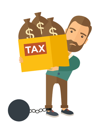 A Caucasian businessman locked in a debt ball in chain for commiting crime in tax ivasion. Debt concept. A Contemporary style. Vector flat design illustration isolated on white background. Vertical layout.
