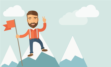 desaturated: A happy Caucasian businessman standing on the top of a mountain with snow holding a red flag. Cheerful, winner and leader concept.  Contemporary style with pastel palette, soft blue tinted background with desaturated clouds. Vector flat design illustratio