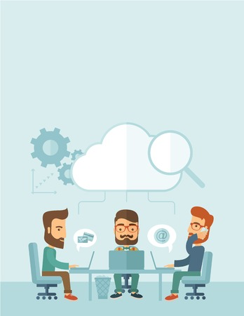 designer chair: Three Caucasian businessmen with beard sitting on chair working together using cellphone and laptops for calling and searching an ideas for business plan. A contemporary style with pastel palette, soft blue tinted background with desaturated cloud. Vector