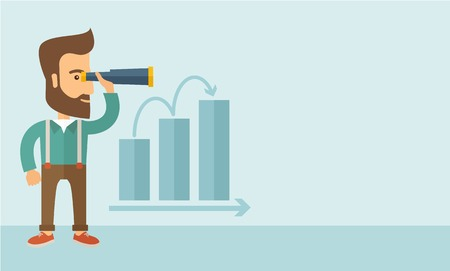 A Caucasian businessman standing using binocular to look over the graph that shows increasing in slaes. Growing business concept.  A contemporary style with pastel palette, soft blue tinted background. Vector flat design illustration. Horizontal layout wi Illustration