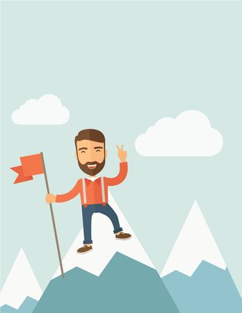 A happy Caucasian businessman standing on the top of a mountain with snow holding a red flag. Cheerful, winner and leader concept. A Contemporary style with pastel palette, soft blue tinted background with desaturated clouds. Vector flat design illustrati