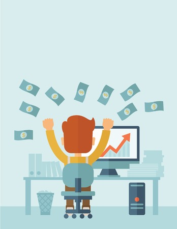 Successful young businessman happy falling the money while sitting infront of his computer with the graph showing the arrow going up increasing in sales. Business growth concept. A contemporary style with pastel palette, soft blue tinted background. Vecto Illustration