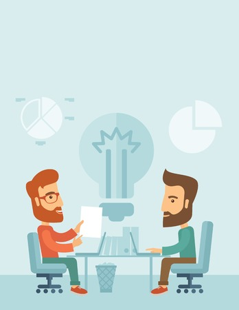 Two businessmen sitting working together getting a brilliant ideas from internet using their laptop. A contemporary style with pastel palette, soft blue tinted background. Vector flat design illustration. Vertical layout with text space on top part. Vector