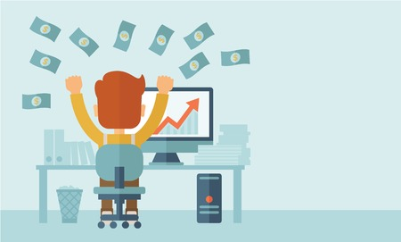 Successful young businessman happy falling the money while sitting infront of his computer with the graph showing the arrow going up increasing in sales. Business growth concept. A contemporary style with pastel palette, soft blue tinted background. Vecto Stock Illustratie