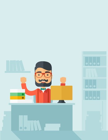A very happy businessman with beard sitting while raising his both hand finished his work with laptop and paper works on time inside his office. Achievement concept. A contemporary style with pastel palette, soft blue tinted background. Vector flat design Ilustração