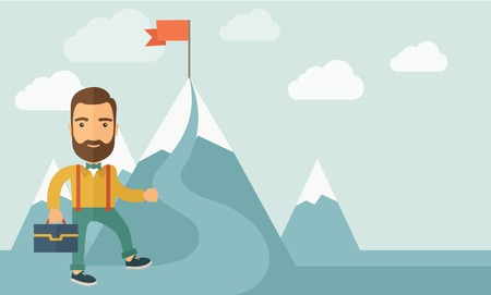 A Caucasian businessman holding his bag will climb up to top of the mountain to achieve success by holding the red flag. Willingness, leadership concept. A Contemporary style with pastel palette, soft blue tinted background with desaturated clouds. Vector Illustration