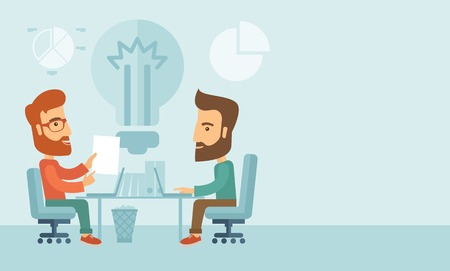 Two businessmen sitting working together getting a brilliant ideas from internet using their laptop. A contemporary style with pastel palette, soft blue tinted background. Vector flat design illustration. Horizontal layout with ntext space in right side. Stock Illustratie