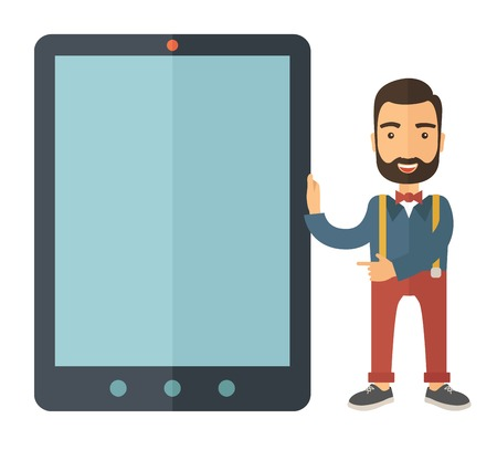 A Caucasian with beard standing while holding besides a big screen tablet. A Contemporary style. Vector flat design illustration with isolated white background. Square layout