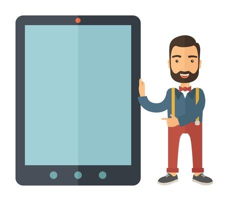 Une race blanche avec une barbe debout tout en maintenant en plus un grand écran de la tablette. Un style contemporain. Vector design plat illustration sur fond blanc isolé. Plan carré