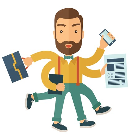 A multitasking job is a man with many hands with successful planning elements, can handle many paper works. Time management concept. A Contemporary style. Vector flat design illustration with isolated white background. Square layout. Illustration