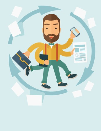 A multitasking job is a man with many hands with successful planning elements, can handle many paper works. Time management concept. A contemporary style with pastel palette, soft blue tinted background. Vector flat design illustration. Vertical layout wi Illusztráció