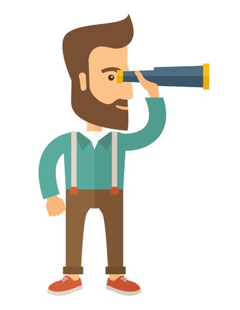 A Caucasian with beard with binocular looking for something. A Contemporary style. Vector flat design illustration with isolated white background. Vertical layout. Ilustracja