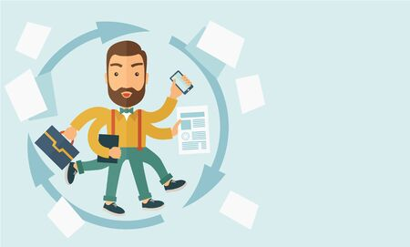 A multitasking job is a man with many hands with successful planning elements, can handle many paper works. Time management concept.   A Contemporary style with pastel palette, soft blue tinted background. Vector flat design illustration. Horizontal layou