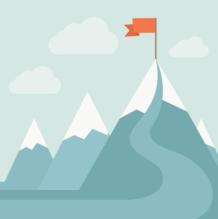 A mountain with red flag on top of it. A Contemporary style with pastel palette, soft blue tinted background with desaturated clouds. Vector flat design illustration. Square layout. Illustration