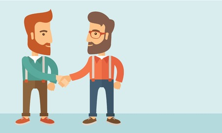 Two hipster Caucasian men standing facing each other handshaking for the successful business deal. Business partnership concept. A contemporary style with pastel palette, soft blue tinted background. Vector flat design illustration. Horizontal layout with Vectores
