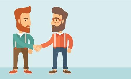 Due uomini caucasici a vita bassa in piedi uno di fronte all'altro handshake per l'affare business di successo. Concetto di partenariato di affari. Uno stile contemporaneo con pastello tavolozza, morbido sfondo blu tinta. Vector design piatto illustrazione. Il layout orizzontale con Archivio Fotografico - 38609419