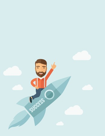 suited up: Happy businessman flying on a rocket with caption success and showing direction of movement suited for business start up concept design. A Contemporary style with pastel palette, soft blue tinted background with desaturated clouds. Vector flat design illu