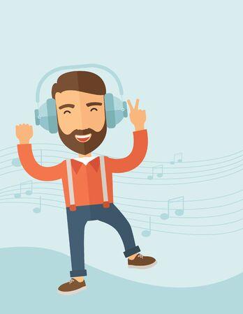cantando: Hombre joven feliz con el baile barba, que escucha la música con los auriculares que muestran las notas en su espalda. Concepto feliz. Un estilo contemporáneo con la paleta de colores pastel, fondo pintado de azul suave. Vector diseño plano ilustración. Diseño vertical con