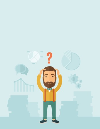 proposition: A sad Caucasian businessman with question mark over his head showing that he is in a big trouble. A contemporary style with pastel palette, soft blue tinted background. Vector flat design illustration. Vertical layout with text space on top part.
