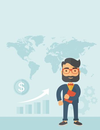investment concept: A businessman standing holding his organizer with map at his back planning to travel other country to invest. Planning, investment concept. A contemporary style with pastel palette, soft blue tinted background. Vector flat design illustration. Vertical la