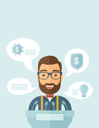 conference speaker: A Caucasian speaker stands behind a podium with microphones makes a business report  and marketing strategy inside the conference room. Presentation, reporting concept. A contemporary style with pastel palette, soft blue tinted background. Vector flat des