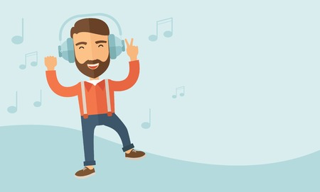 Happy young man with beard dancing, singing while listening to music with headphones showing the notes at his back. Happy concept. A contemporary style with pastel palette, soft blue tinted background. Vector flat design illustration. Horizontal layotu wi Ilustração