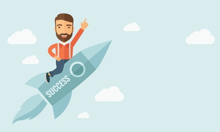 illus: Happy businessman flying on a rocket with caption success and showing direction of movement suited for business start up concept design.A Contemporary style with pastel palette, soft blue tinted background with desaturated clouds. Vector flat design illus Illustration