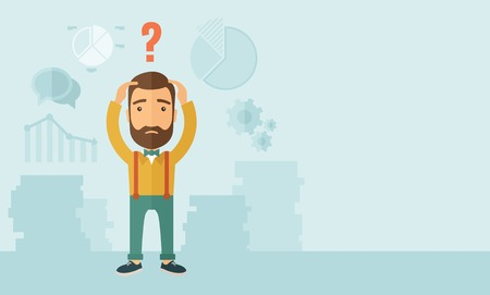 confused: A sad Caucasian businessman with question mark over his head showing that he is in a big trouble. . A contemporary style with pastel palette, soft blue tinted background. Vector flat design illustration. Horizontal layout with text space in right side. Illustration