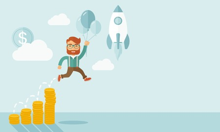 mosca caricatura: El hombre de negocios que sostienen los globos vuelan alto con gráfico de la moneda que muestra aumento en las ventas. Poner en marcha el concepto de negocio. Un estilo contemporáneo con la paleta de colores pastel, fondo pintado de azul suave con nubes desaturado. Vector diseño plano ilustración. Layou Horizontal Vectores