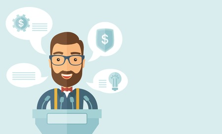 A Caucasian speaker stands behind a podium with microphones makes a business report  and marketing strategy inside the conference room. Presentation, reporting concept. A contemporary style with pastel palette, soft blue tinted background. Vector flat des