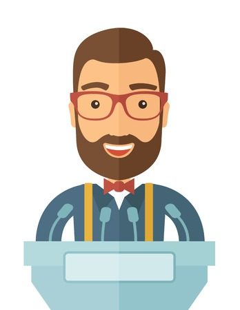 A hipster Caucasian speaker delivers a speech at the podium with a microphone. Wide and expressive gestures of the speakerA Contemporary style. Vector flat design illustration with isolated white background. Vertical layout.